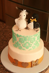 "love birds wedding cake with butter cream damask • <a style=""font-size:0.8em;"" href=""http://www.flickr.com/photos/60584691@N02/6089118385/"" target=""_blank"">View on Flickr</a>"