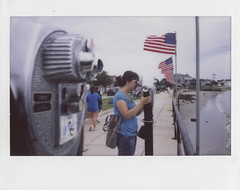 Facing Home (pierofix) Tags: ocean trip sea usa costa film boston analog america stars ma coast mare fuji scanner stripes flag massachusetts united wide august atlantic east agosto binoculars gloucester ann boardwalk instant cape epson fujifilm states viaggio irma est oceano atlantico instax 210 bandiera passeggiata pellicola 2011 analogico binocolo