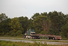 Green & black KW pulling flatbed (myhotrod9) Tags: truck semi conventional trucking kw 18wheeler flatbed kenworth tractortrailer bigrig class8 largecar