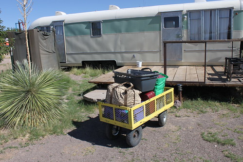 loading up bags - el cosmico trailer