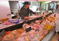 French Cheese Vendor at the Sunday Open Market - Chablis, Burgundy, France (waynedunlap) Tags: world travel food france cheese french escape open market burgundy plan your vendor now gurus chablis unhook unhooknow