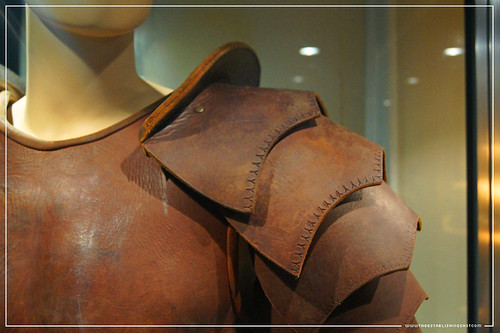 Conan The Barbarian Exhibition - London Film Museum : Jason Momoa's Conan The Barbarian Leather Battle Armour from Conan The Barbarian - Shoulder Pauldron by Craig Grobler