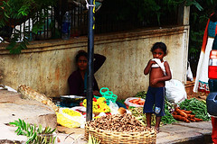 Selling Flowers on the Corner (Brock Whittaker Photography) Tags: city family flowers people baby india cute truck photo store downtown traffic many indian bangalore peanuts beggar curtains indians carrots rickshaw moped stores selling autorickshaw linens