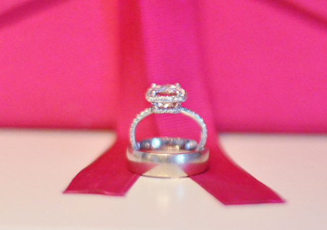 wedding and engagement rings pink ribbon