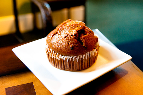 Lincoln Bakery's Pumpkin Muffin at Coffee Buddha