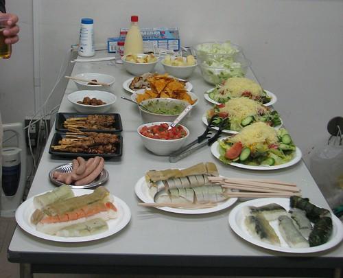 Kebabs, sushi, guacamole, salsa, salads, more sushi