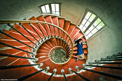 RedFall (never ends) Tags: blue windows red woman photomanipulation rouge dress bleu urbanexploration montage staircases escalier fenetre urbex tourbillon blueshoes bluedress explorationurbaine allonge robebleue