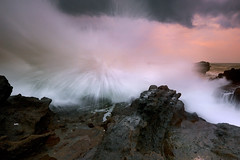 Totally (tropicaLiving - Jessy Eykendorp) Tags: sunset bali seascape beach nature canon indonesia landscape lava rocks wave spray reverse splash filters volcanic 1022mm xoxo gnd cemagi singhray canoneos50d mengening awesomedramaofthewaveyoucapturejessyamazinglightonthebackgroundpowerfullimage