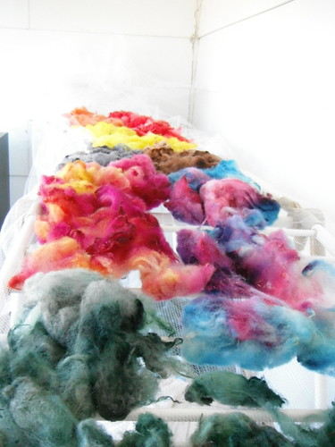 complete pile of dyed wool