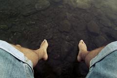 On holidays (jbon84) Tags: sea selfportrait water mar agua holidays mediterranean mediterraneo stones autoretrato catalonia catalunya juanma vacaciones piedras cadaques portlligat bonastre