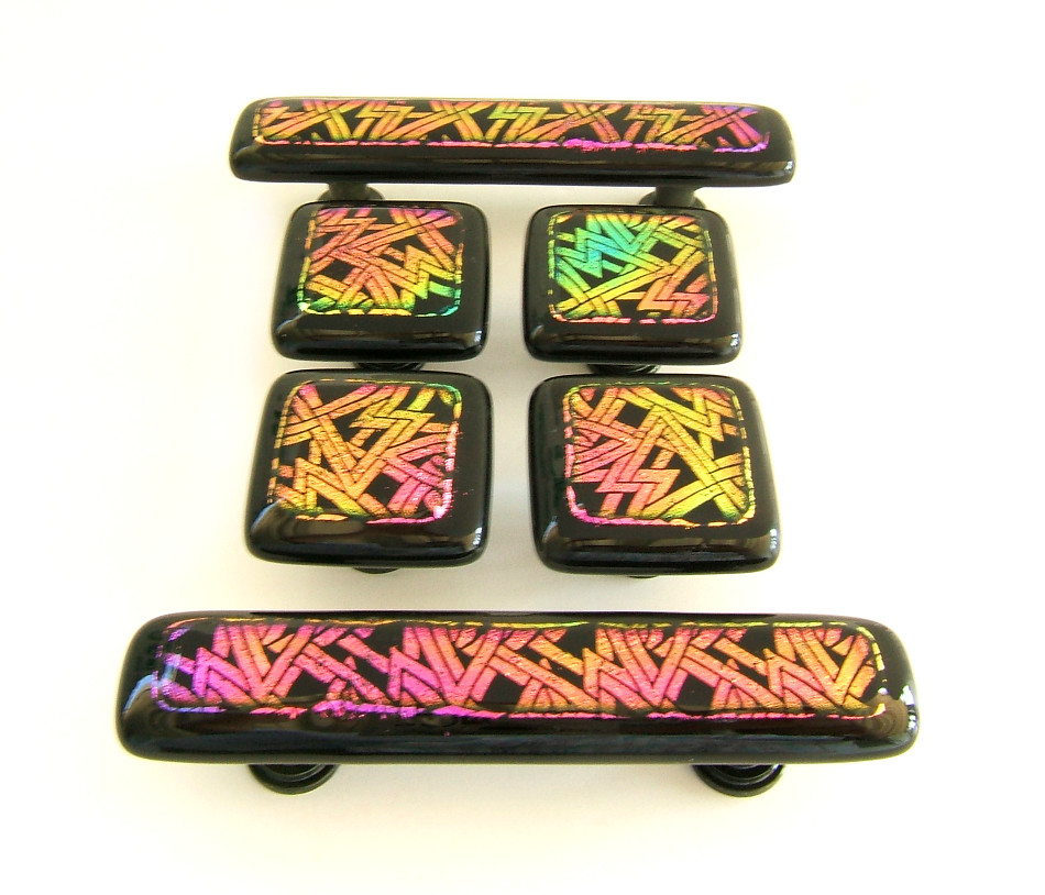 Etched Dichroic Glass Knobs and Pulls Hardware