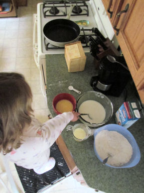 Combine Wet and Dry Pancake Ingredients