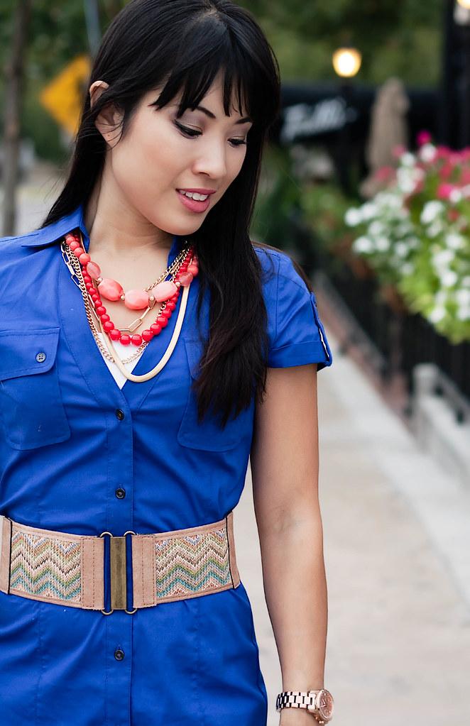 express royal blue shirtdress, agaci missoni zig zag belt, aldo whitsey cognac pumps, the limited coral necklace, mk5430, forever 21 coral bracelet, melie bianco madison