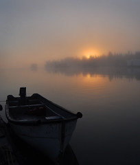 September Morning (Fish as art) Tags: morning summer mist fog sunrise outdoors boat morninglight nikon calm northern yellowknife greatslavelake outdoorphotography paulvecsei