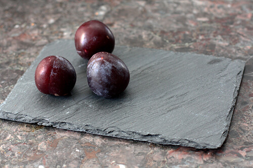 slate plate with plums