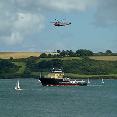 Coastguard Vessel Anglian Princess and Royal Navy Search and Rescue helicopter by Tim Green aka atoach