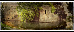 Bishops Palace (pixellesley) Tags: trees panorama tower castle texture water leaves reflections wells somerset palace moat gatehouse castelations tatot magicunicornverybest magicunicornmasterpiece