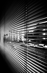 Paranoia (Gabriel Tompkins) Tags: seattle city blackandwhite bw usa cars window monochrome washington nikon sigma pacificnorthwest blinds 1020mm washingtonstate 1020 pnw emeraldcity generic 2010 converginglines d90 sigma1020mmf456exdc nikond90 tronam gabrieltompkins
