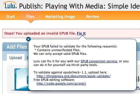 EPUB error: Unmanifested files