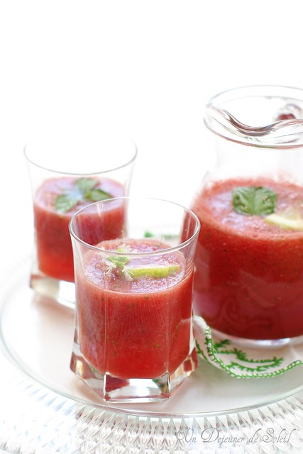 Agua Fresca with watermelon, basil and lemon