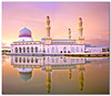 Bandaraya Mosque (Dolly MJ) Tags: sunset sky sun color beach water waves muslim mosque slowshutter kotakinabalu redsky sabah ramadhan masjid kk southchinasea longexpose ombak beautifulsunset borneoisland colorfulclouds likas northborneo masjidbandaraya kotakinabalusunset sabahsunset borneosunset beautifulkk
