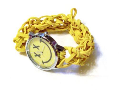 Yellow Smiley Face, Rubber Band Watch - Elastic Quartz Wrist Watch