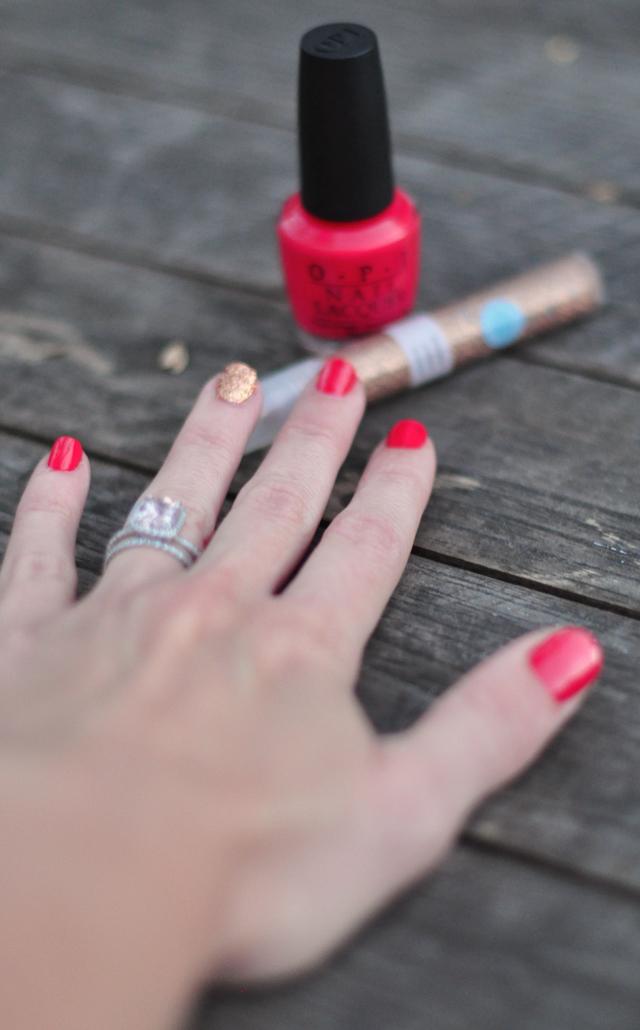 Summer Nails+Glitter Nails_OPI Cajun Shrimp Polish+
