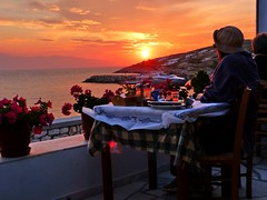 Taverna and sunset view (Marite2007) Tags: sunset people panorama sunlight seascape islands scenery mediterranean view sundown watching aegean hellas greece dining taverna concept magical enjoying cyclades donoussa lpevening