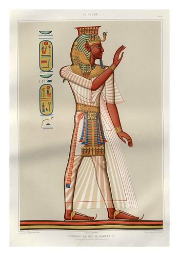 003-Portarretrao en pie de Ramses III-Tebas dinastia XX-Histoire de l'art égyptien 1878- Achille Constant Théodore Émile