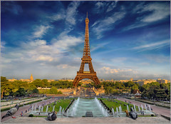 The Tip (Jean-Michel Priaux) Tags: city sky paris france tower architecture clouds photoshop landscape europe niceshot tour perspective eiffel ciel toureiffel axe symetry capitale paysage trocadero symetric fer tourisme gustave alignement trocadro symetrie megapole priaux mygearandme
