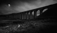 Ribblehead Viaduct 2 (mrcheeky2009) Tags: blackandwhite bw moon landscape moody yorkshire dramatic drama yorkshiredales ribbleheadviaduct