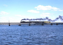 1385 (SOOLINER) Tags: bridge lake water boat smoke steamengine 1385 passengertrain lakewisconsin tenwheeler cnw