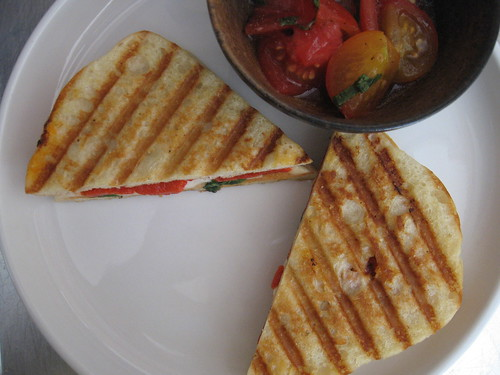 panini with tomato salad