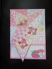My Melody Origami Letter Crepe Dessert (Suki Melody) Tags: hello pink cute rabbit bunny set paper mouse cupcakes strawberry squirrel origami flat sweet character pad kitty sheets sanrio desserts collection melody sleepy memo kawaii crepe letter stationery crepes mymelody