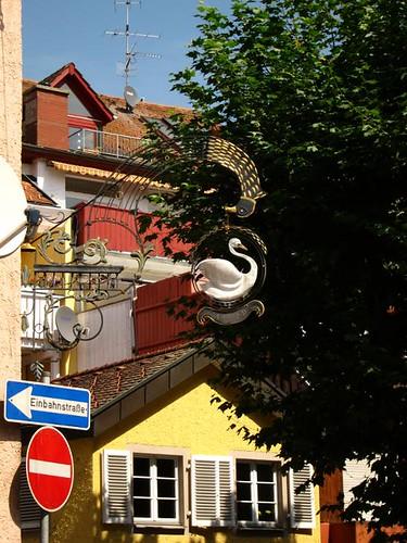 swan sign in waldshut tiengen germany by Danalynn C