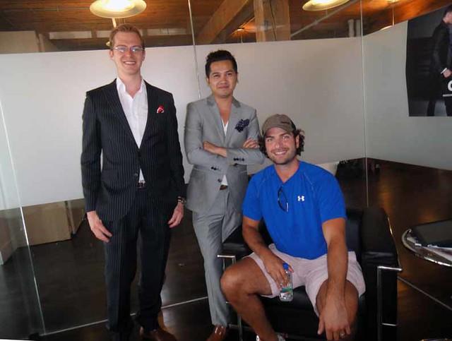 Co founders Kyle Vucko and Heikal Gani with New York Islander Al Montoya