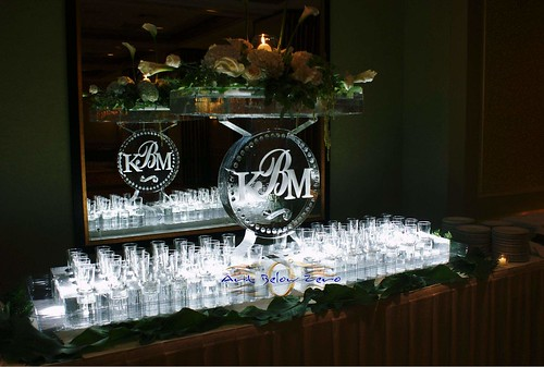 Champagne Glass Display w Monogram 2 ice sculpture
