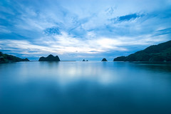 blue stillness @ II (-TommyTsutsui- [nextBlessing]) Tags: longexposure blue light sea sky seascape nature japan clouds port landscape bay nikon dusk magic tide scenic shore     islet hdr izu   ndfilter   nishiizu sigma1020 onsalegettyimages