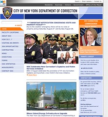 City of New York Department of Correction homepage