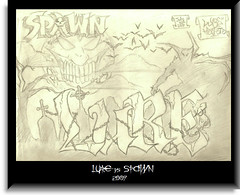 LURE vs SPAWN (2009) (*Breeding The Disease*) Tags: two moon black grave 30 yard work movie graffiti book sketch chains drawing clown tag cemetary nine july evil tags wicked 09 satan horror demon vs graff piece spawn tagging 2009 thousand bats lr lure btd hba b2d lewer lewar lewor lewr