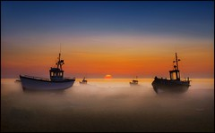 Morning Paradise (adrians_art) Tags: mist fog sunrise coast bravo shore dungeness fishingboats seawater