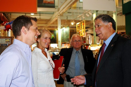 MRP Under Secretary Edward Avalos at the Ohio North Market with John Lowe, CEO of Jeni's Splendid Ice Cream; Val Jorgensen, local producer; and Steve Maurer, Ohio State Executive Director for the Farm Service Agency.