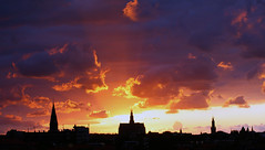 Sunset over Haarlem (Martijn Kapper) Tags: city sunset summer urban holland church haarlem netherlands skyline zonsondergang sint zomer kerk the bavo bakenesserkerk