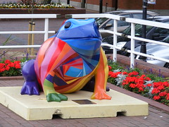 A LARKIN TOAD IN HULL (zxbill55) Tags: park city blue plants signs flower garden sunny shade toad hull larkin