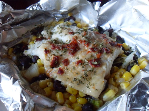Foil Baked Fish with Black Beans and Corn