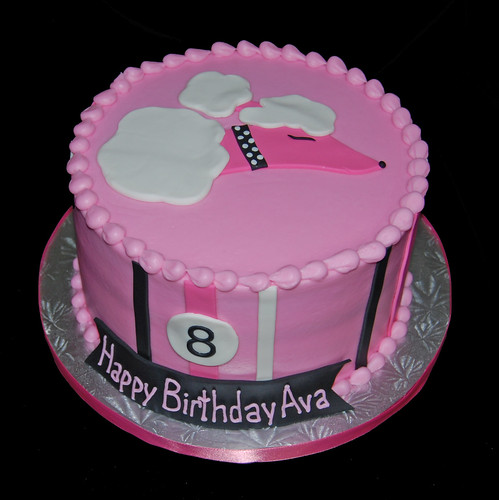 pink and black french poodle 8th birthday cake