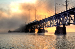 Train Crossing Foggy Bridge (Adam J Rybczynski) Tags: water train sunrise nikon amtrak nec susquehanna northeastcorridor aem7 photomatix amtk