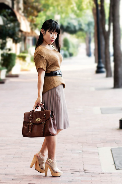 h&m camel knit sweater, forever 21 wide elastic belt, american apparel pleated skirt, steve madden pleasant sandals, tjmaxx vieta lucille buckle satchel, target red cluster earrings