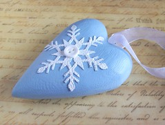 Snowflake Christmas heart decoration (art angel 1) Tags: snowflake christmas wood blue white home wooden heart handmade mixedmedia decoration craft ornament bitton