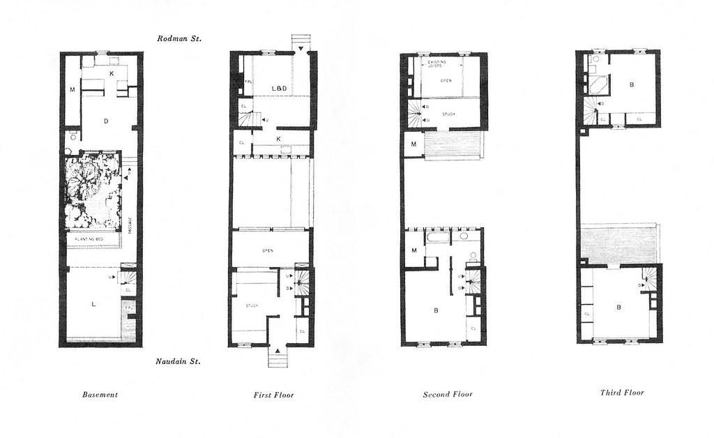 Floor Plans, Buten House, Philadelphia PA 1962, Louis Sauer, Architect